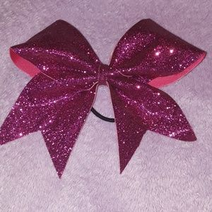 Hot Pink Glittery Cheer Bow